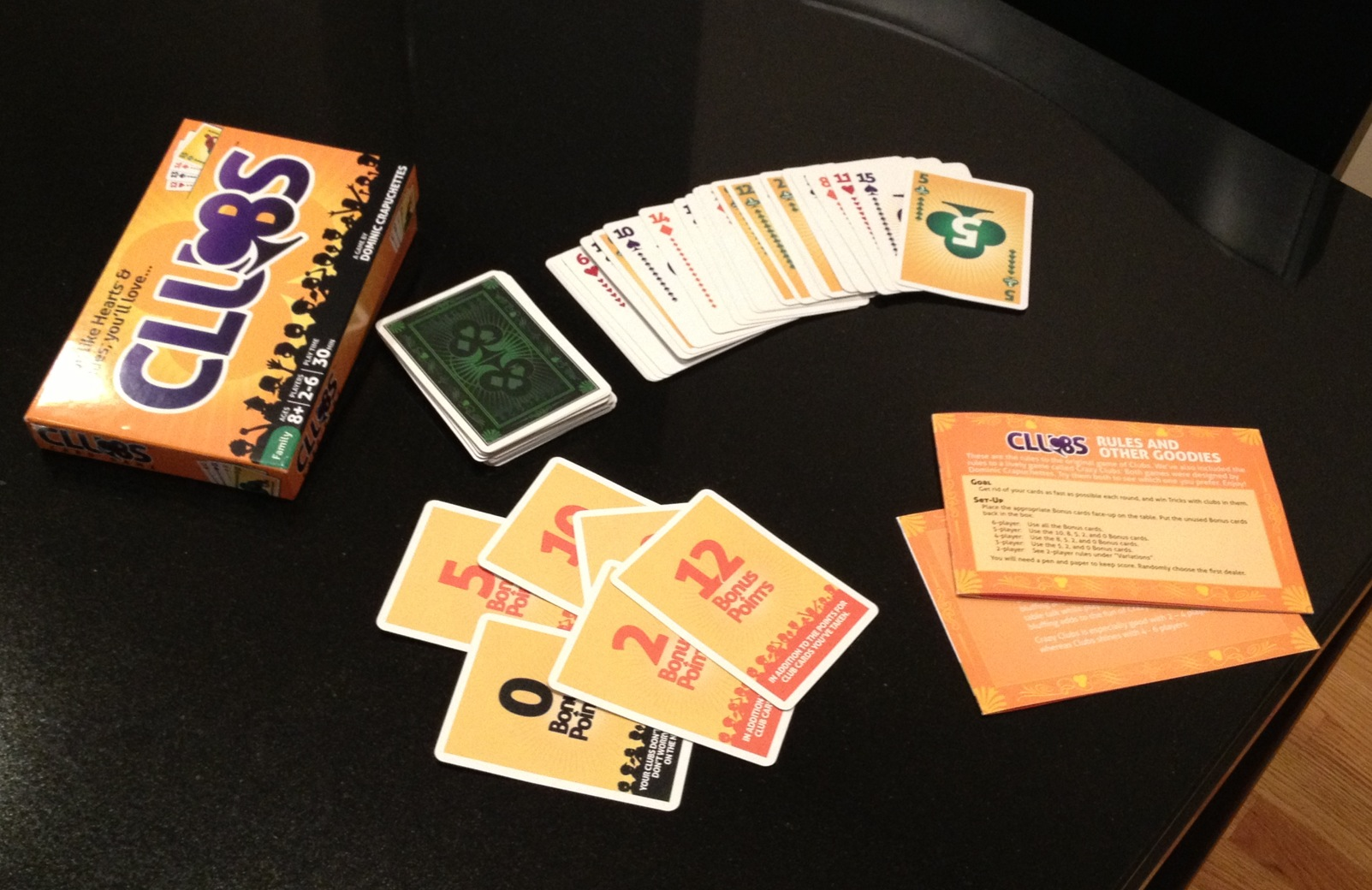 Clubs Card Game All Pieces
