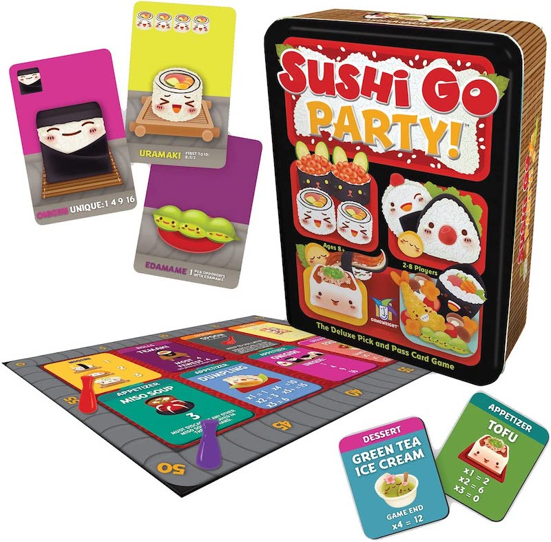 Sushi Go Party game showing part of the menu board, 2 possible menu tiles, and three sushi cards that are new to this version