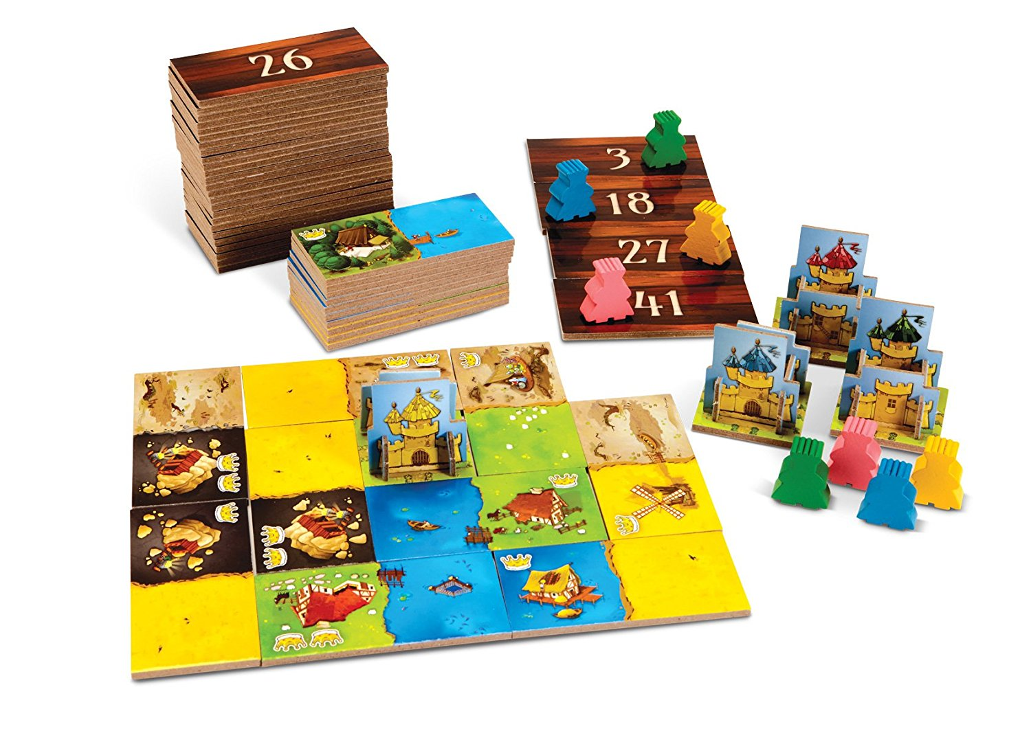 Kingdomino tiles laid out to show the 2 colored tiles and wooden characters and little castles