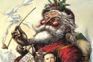 Santa clause looking happy with lots of toys and a pipe
