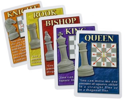 No Stress Chess cards showing the different types of pieces and their moves