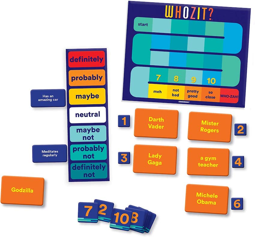 Whozit? game in play showing the score board and some cards and the voting mechanism