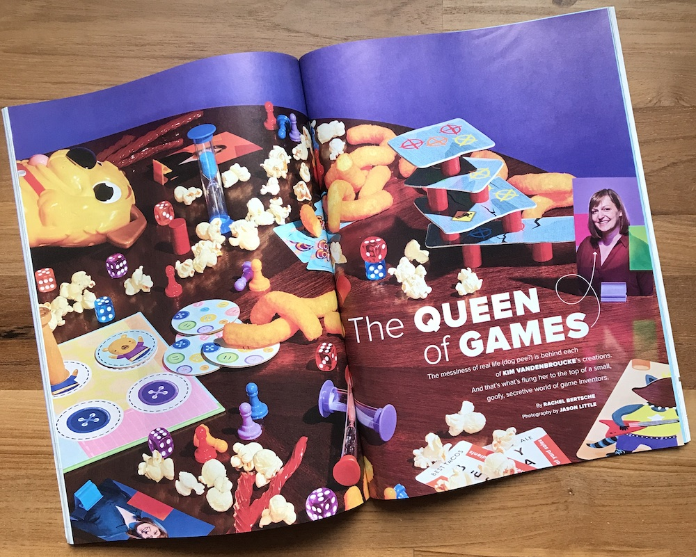 Opening spread with game-night play in Chicago Magazine Article