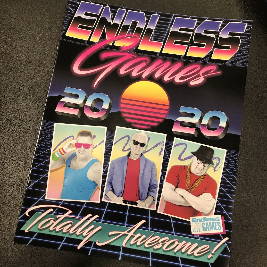 Endless games 2020 catalog with owners dressed up as if it's the 1980s