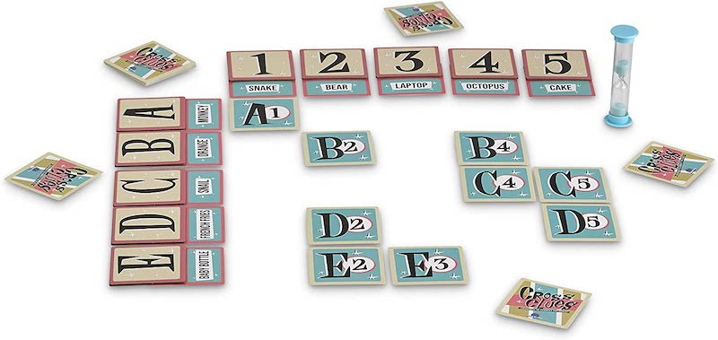 Cross Clues gam in play with cards laid out in a grid with not all grid spaces used