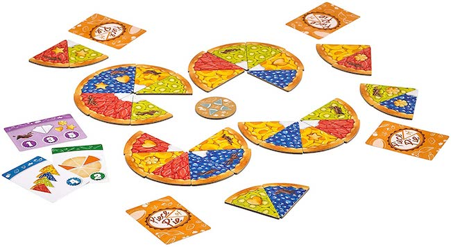 piece of pie game pieces laid out on table