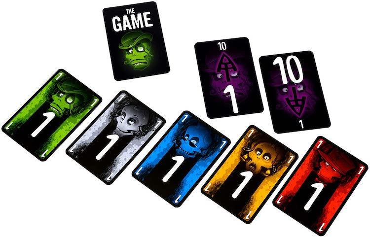 The Game Quick and Easy Cards playing cards showing five colors of ones, a one card and a ten card and the remaining deck