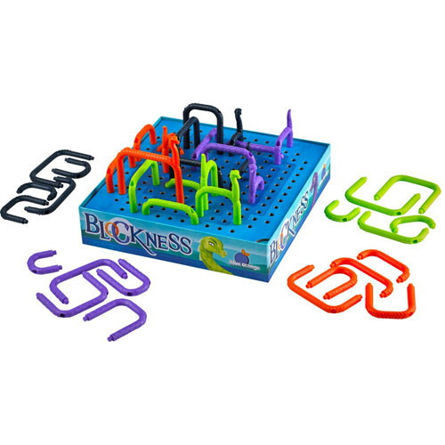 Block Ness game mid-play with four different color arch-shaped serpent bodies in box and others in piles on the board