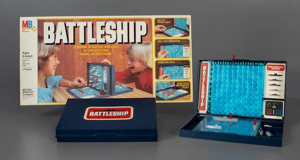 Retro battleship game Battleship showing plastic player boards from Toy Hall of Fame